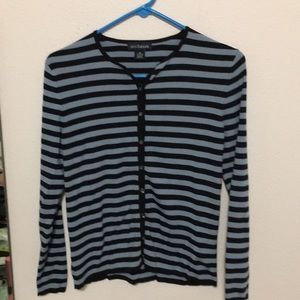 Anne Taylor XS stretchy button  striped cardigan